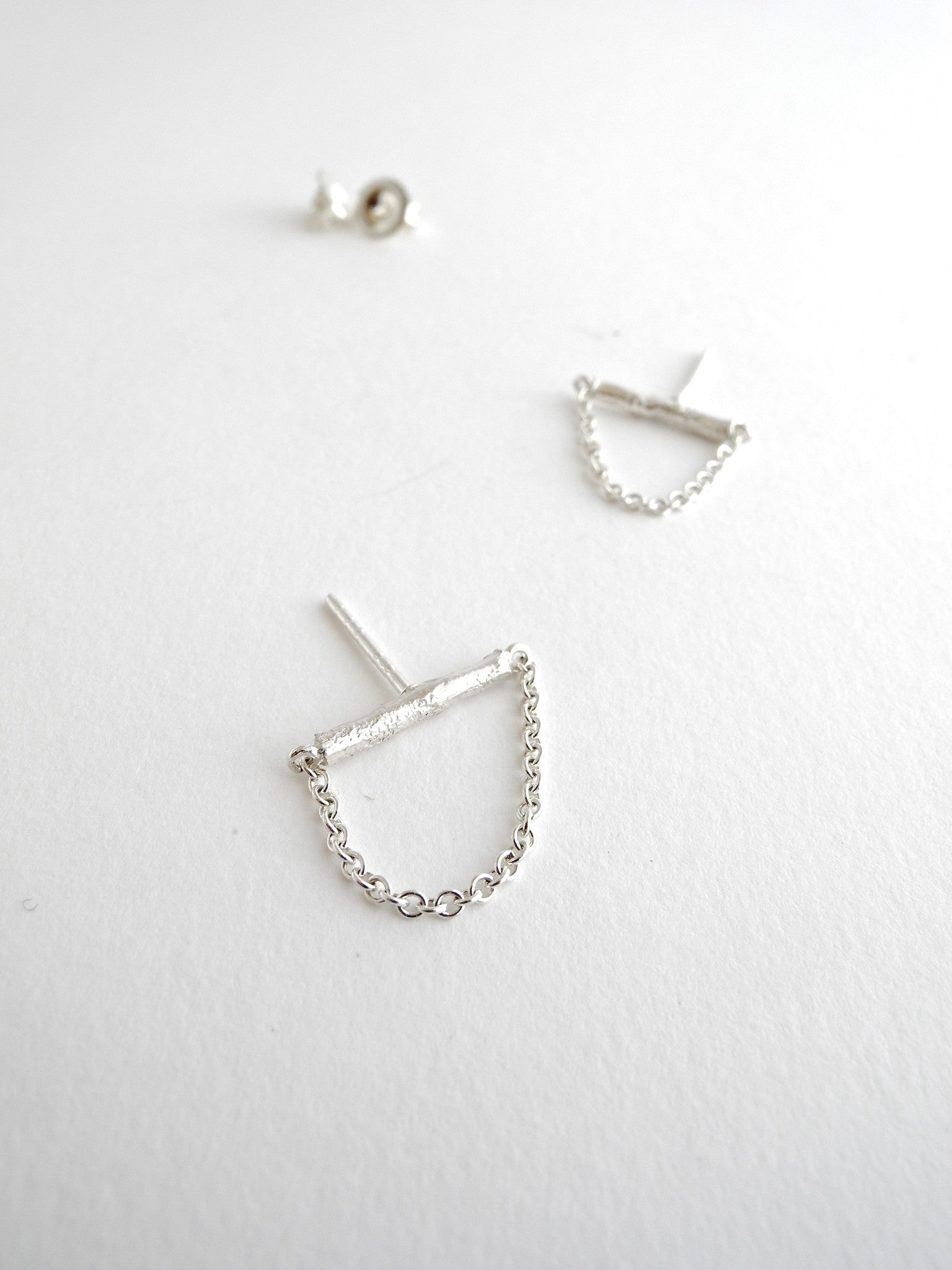 after nature stick earrings with chain