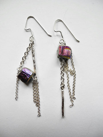 pyrite mismatched earrings