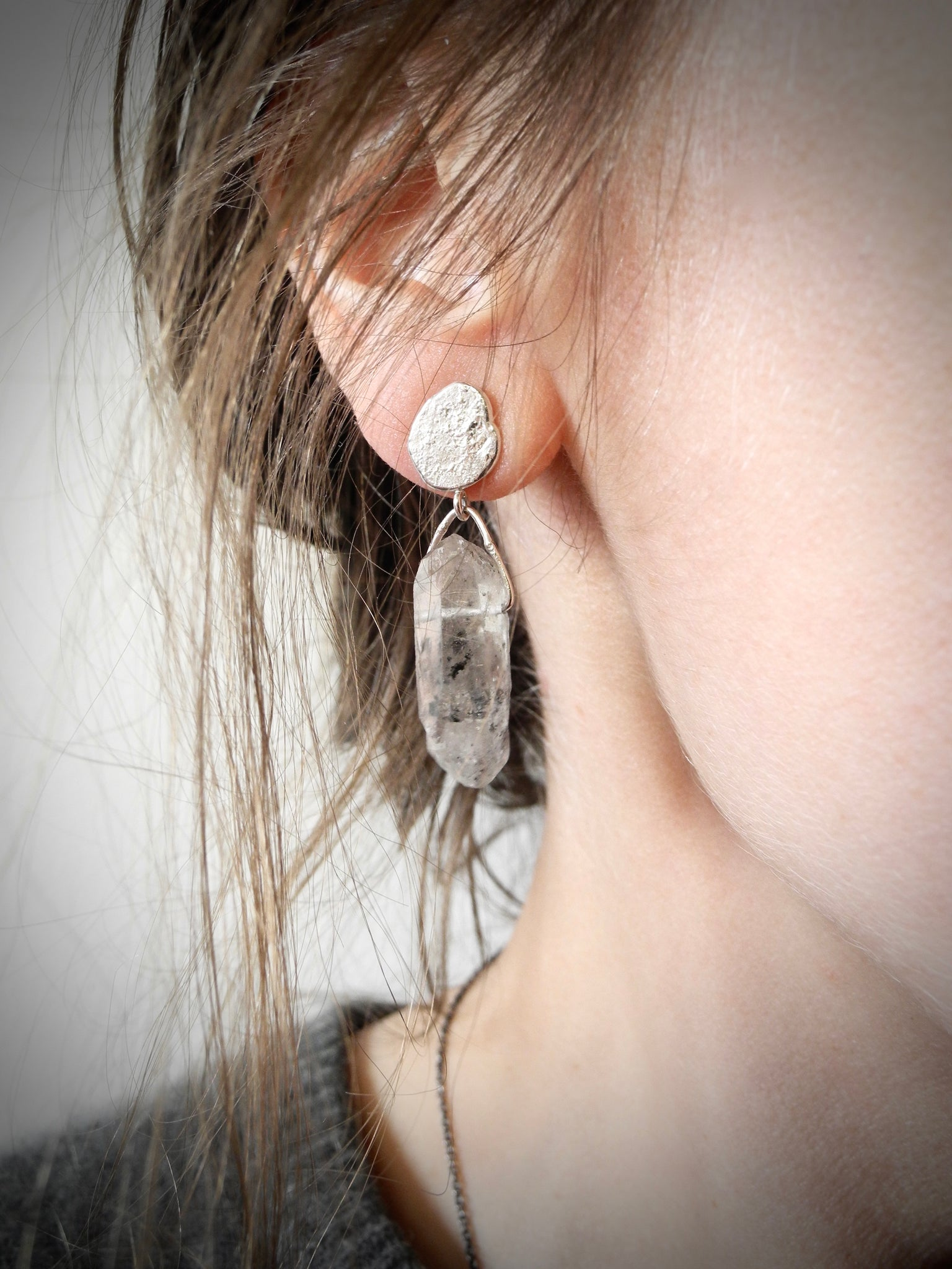 meteoroid quartz earrings