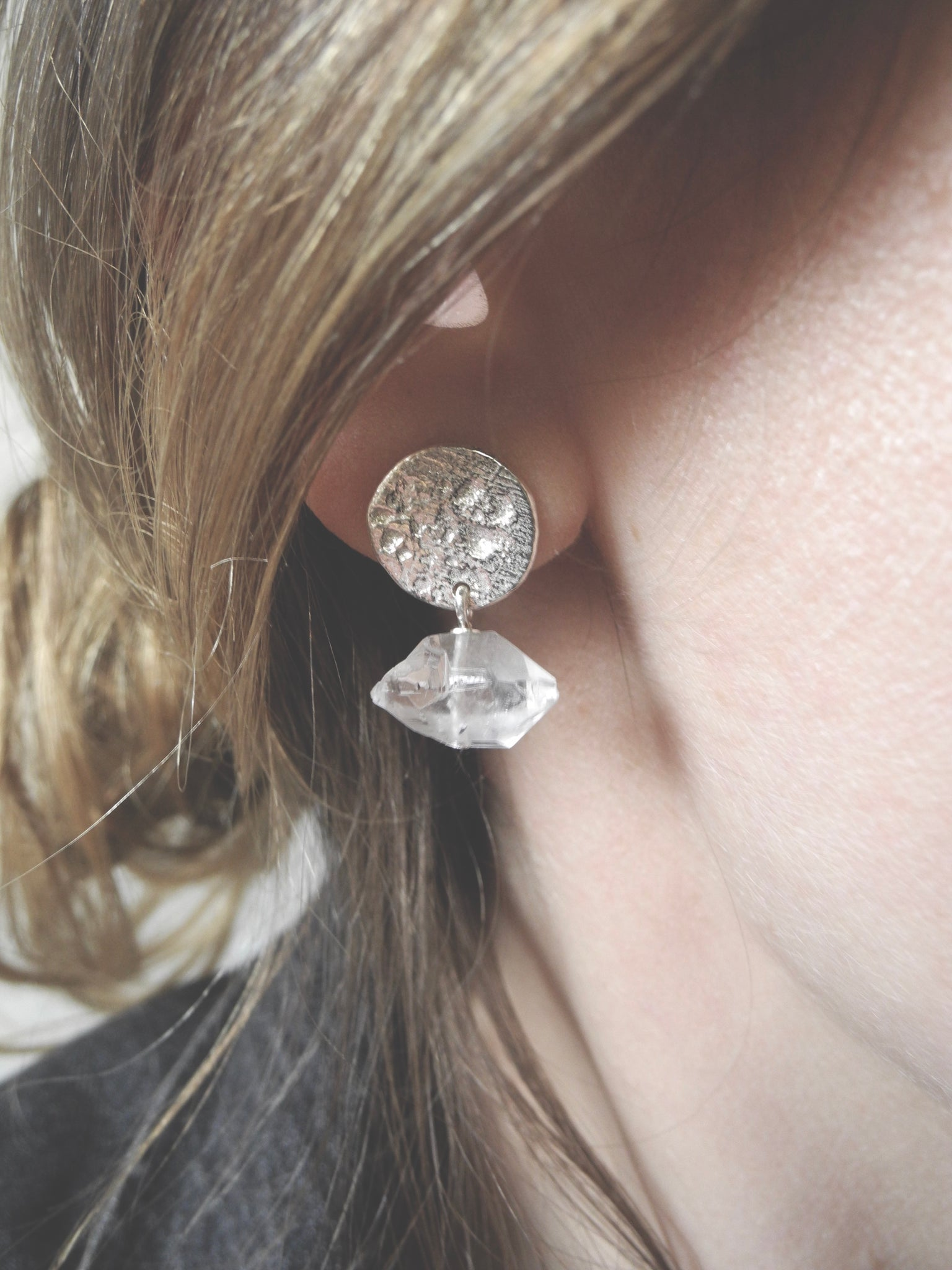 quartz and moons earrings