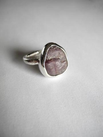 natural raw ruby ring
