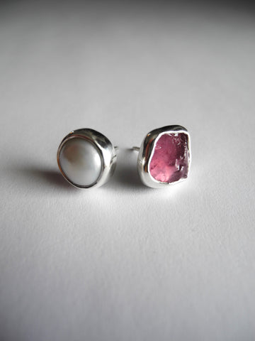ruby and pearl studs