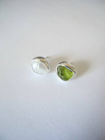 peridot and pearl studs
