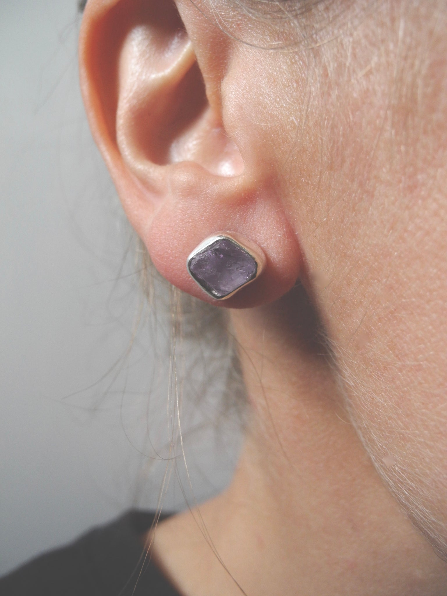 amethyst and quartz studs