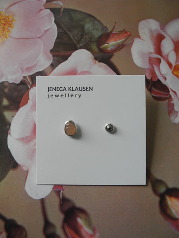 pyrite and peach moonstone talisman earrings