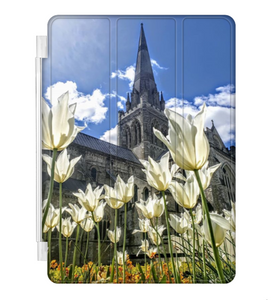 White Tulips with Chichester Cathedral - ipad Smart Cover