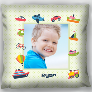 Boy & Toys Photo Upload Cushion