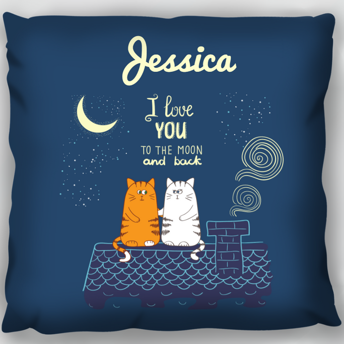 Love to the Moon Cats Cushion