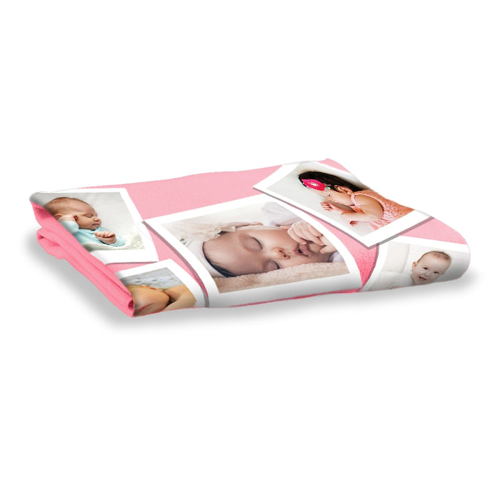 Pink Photo Collage Blanket