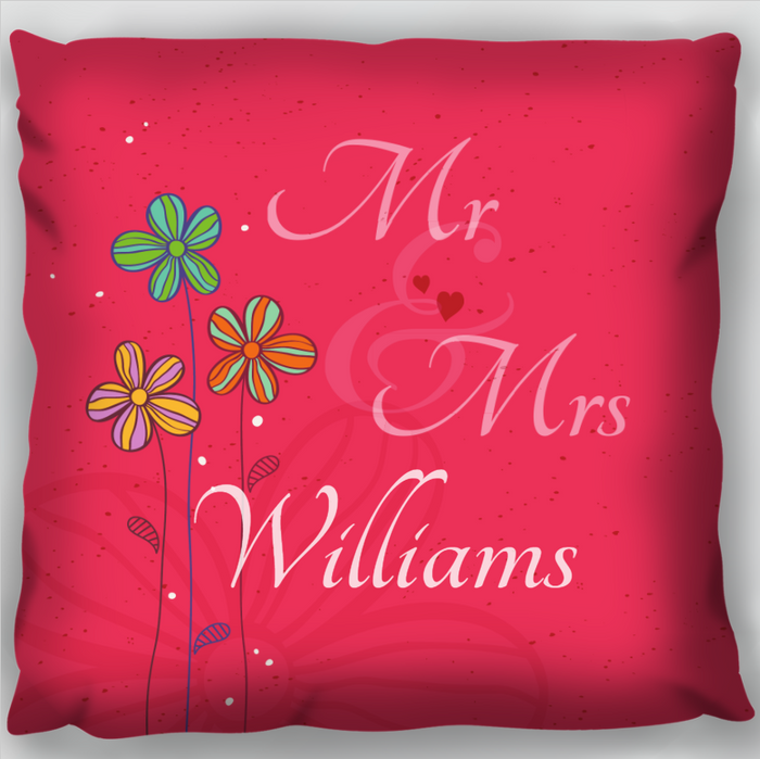 Pink Mr and Mrs Cushion