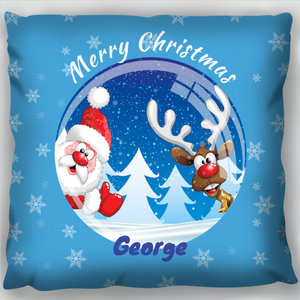 Santa & Rudolph Christmas Globe Cushion
