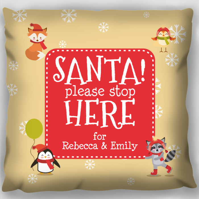 Santa Please Stop Here Cushion