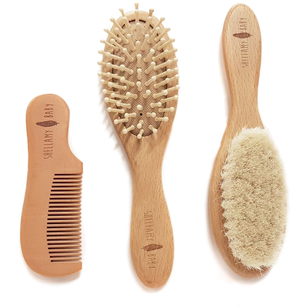 Natural Wooden Baby Brush Set