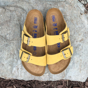 BIRKENSTOCK Arizona Ochre Suede Leather Soft Footbed