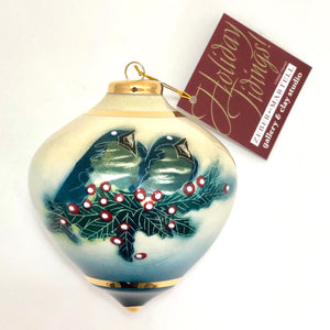 Bulb Ornament (Blue Birds with Holly)