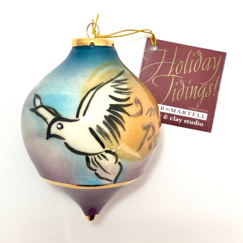 "Bulb Ornament (""Imagine Peace"" white Dove)"
