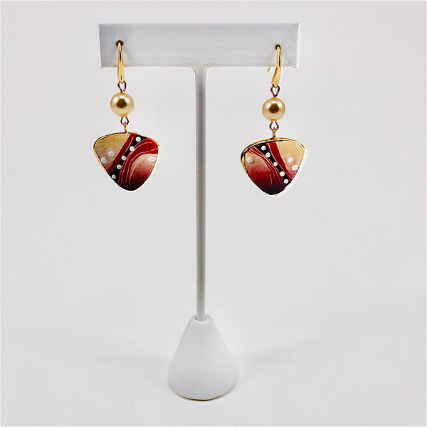 Three-Sided Earring (small, red)