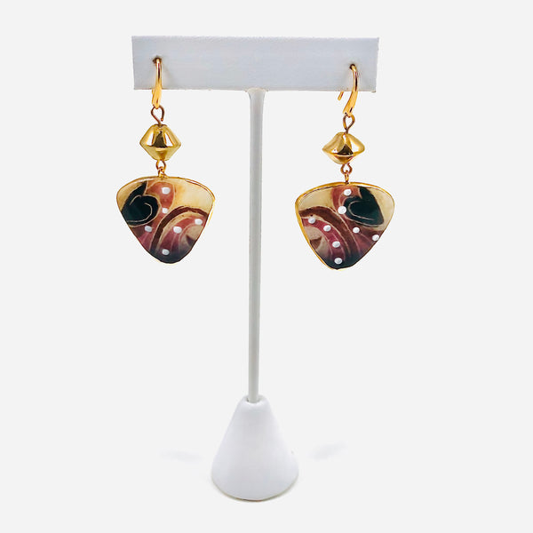 Earrings, Three-Sided (medium, wine)