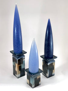 Tabletop Candleholders (Blue Graphic)