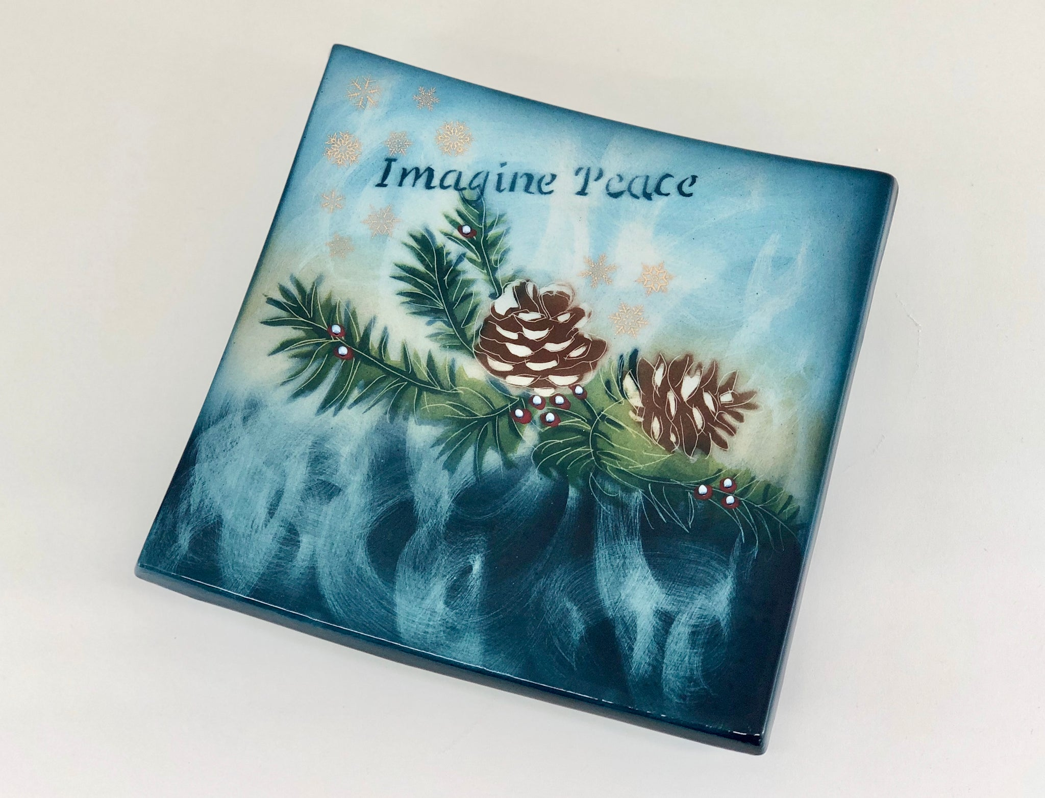 Imagine Peace Footed Square Plate