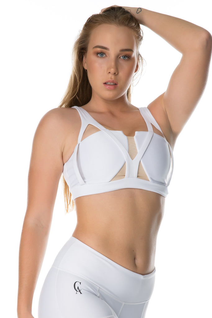 'Between The Lines' Sports Bra - White - Cassandra-Anne