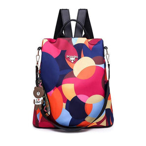 Womens Print Waterproof Oxford Bags Anti-theft Multifunctional Zipper Backpack - Marfuny