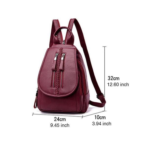 Women's Fashion Waterproof Solid Anti-theft Double Zipper Multifunctional Zipper Backpack - Marfuny