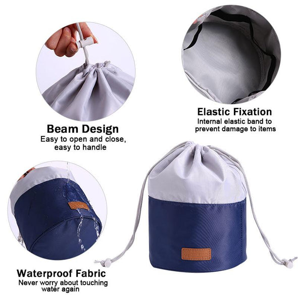 Travel Cosmetic Drawstring Barrel Organizer Storage Toiletry Bag
