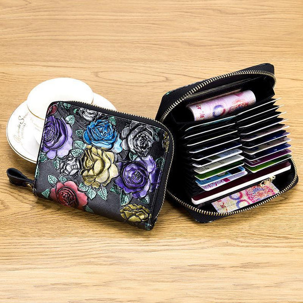 Women's Casual Print RFID Genuine Leather Multi-card Position Zipper Wallet - Marfuny