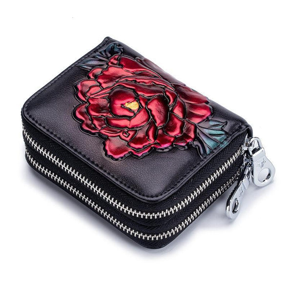 Women's Classical RFID Card Holders Genuine Leather Multifunctional Zipper Wallet - Marfuny