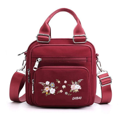 Women's Casual Embroidery Waterproof Nylon Bags Multifunctional Multi-pocket Zipper Backpack - Marfuny