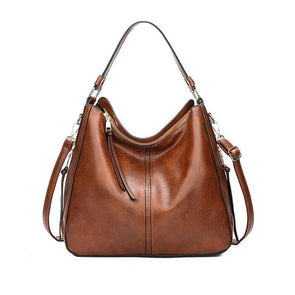 Women's Elegant Soft Leather Large Capacity Zipper Shoulder Bag - Marfuny