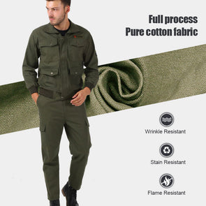 Men's Stain , Wrinkle & Flame-Resistant Long-Sleeve Coverall