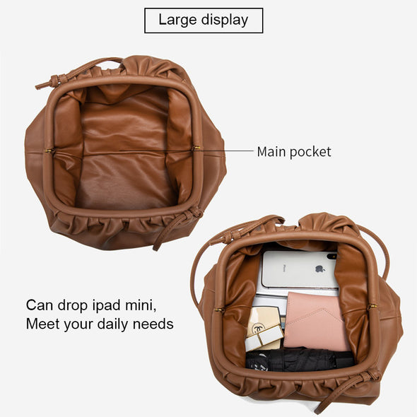 Cloud Shape Large Capacity Leather Pouch