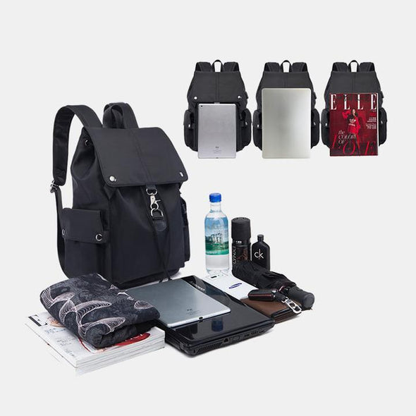 Fashion Solid Waterproof Polyester Bags Large Capacity Multifunctional Zipper Backpack - Marfuny