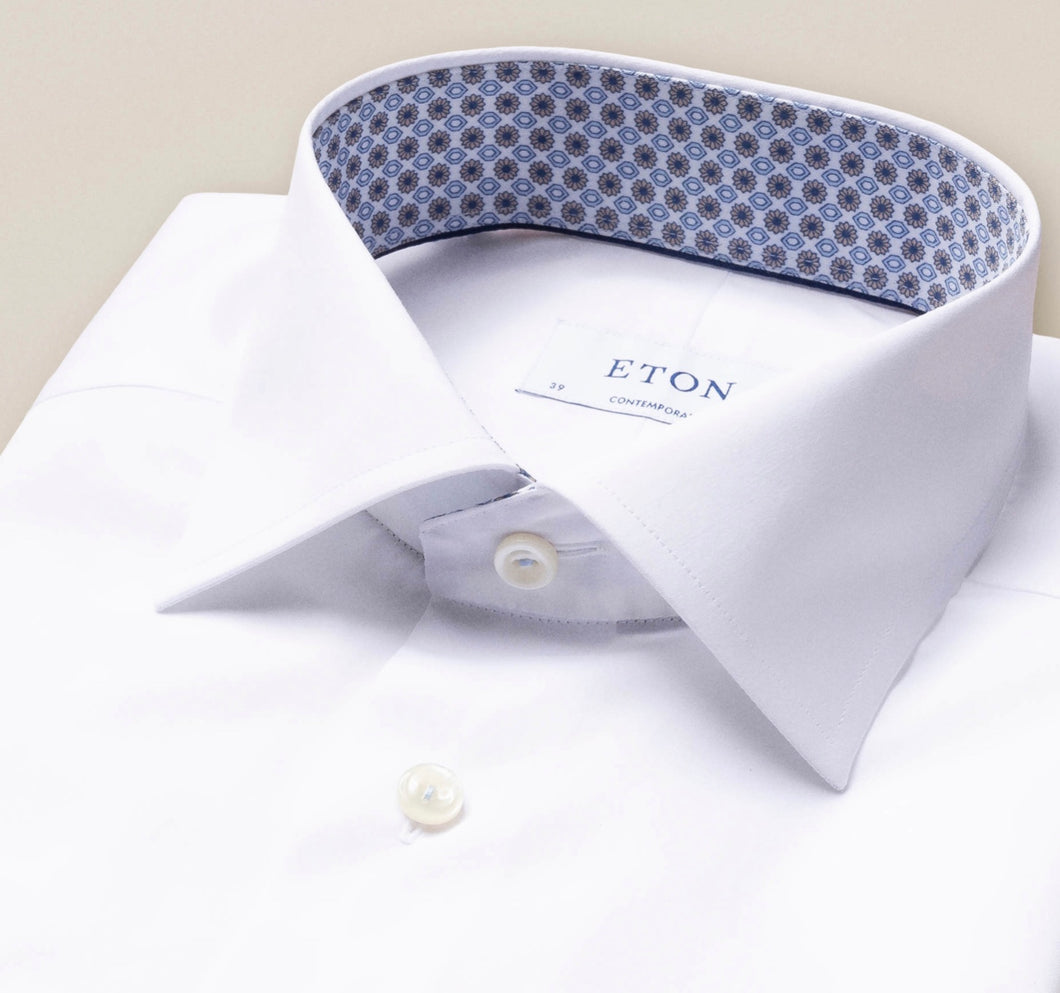Eton Contemporary Stretch Solid With Medallion Inside Collar