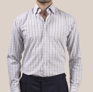 Eton 100000410 Poplin Plaid Under Button Collar