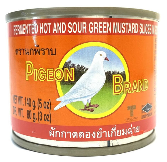Pigeon Brand - Fermented Hot And Sour Green Mustard Slices In Soy Sauce  - 5oz