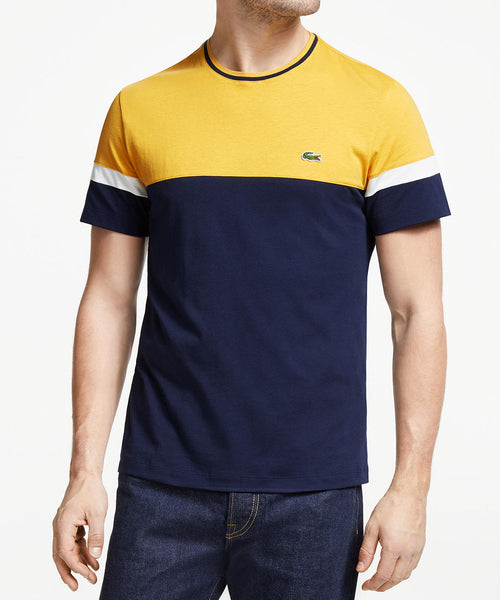 Lacoste Yellow Top Navy Bottom Multi Block Color T Shirt Mens Casual Sports Wear