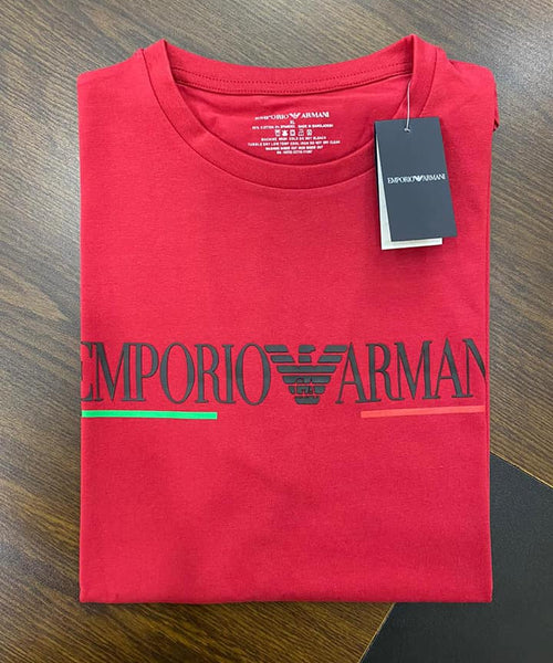 EMPORIO ARMANI RED T SHIRT WITH GA EAGLE LOGO - Brand The Man