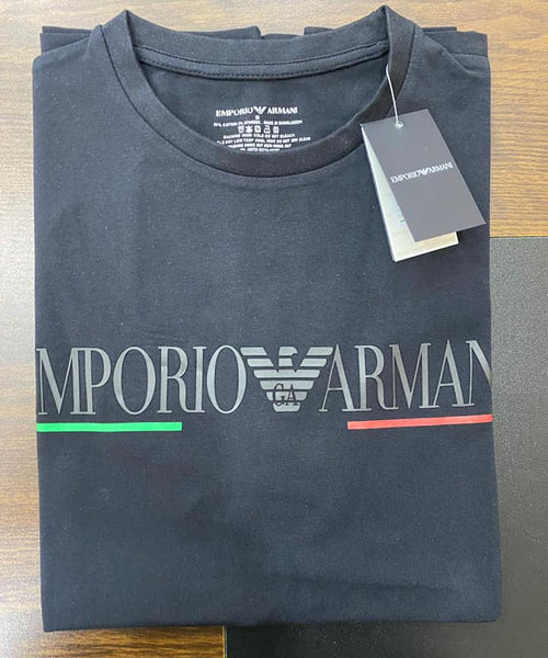 EMPORIO ARMANI BLACK T SHIRT WITH GA EAGLE LOGO - Brand The Man
