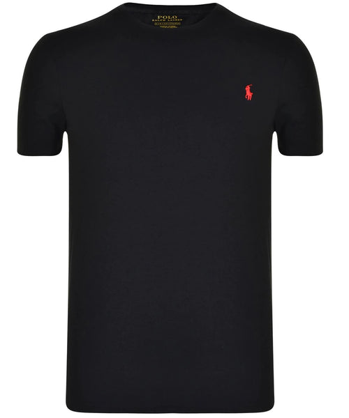Ralph Lauren Black Crew Neck T-shirt With Red Pony - Brand The Man