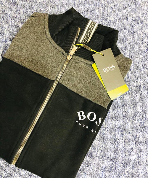 HUGO BOSS CURVE LOGO BLACK GREY JACKET MENS ROUND LOGO