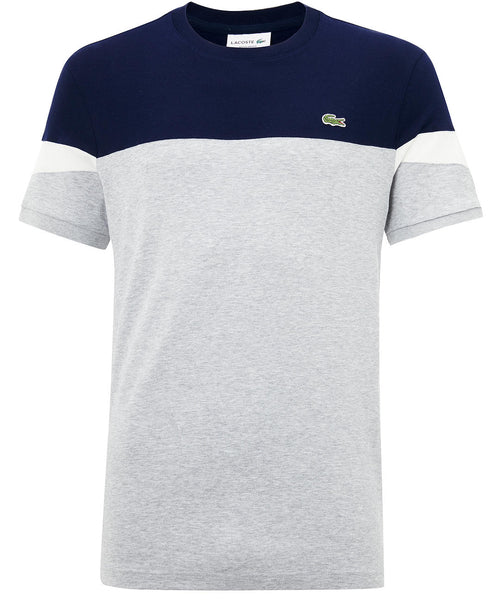 Lacoste Multi Block Color T Shrit Grey Navy