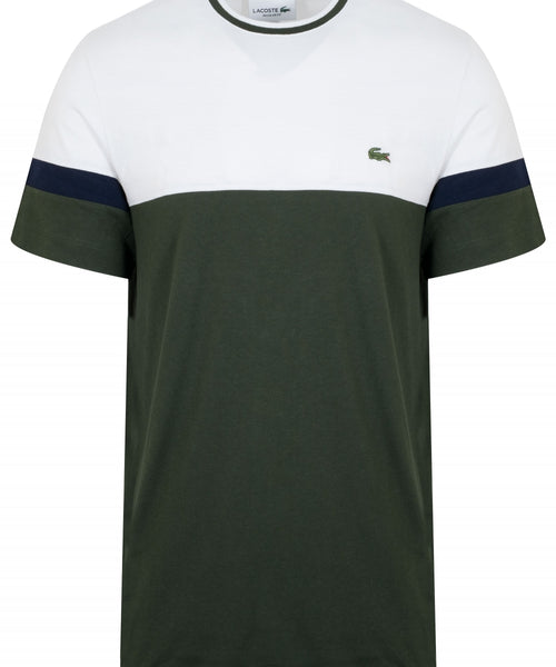 Lacoste Block Color T Shirt White Top Green Bottom