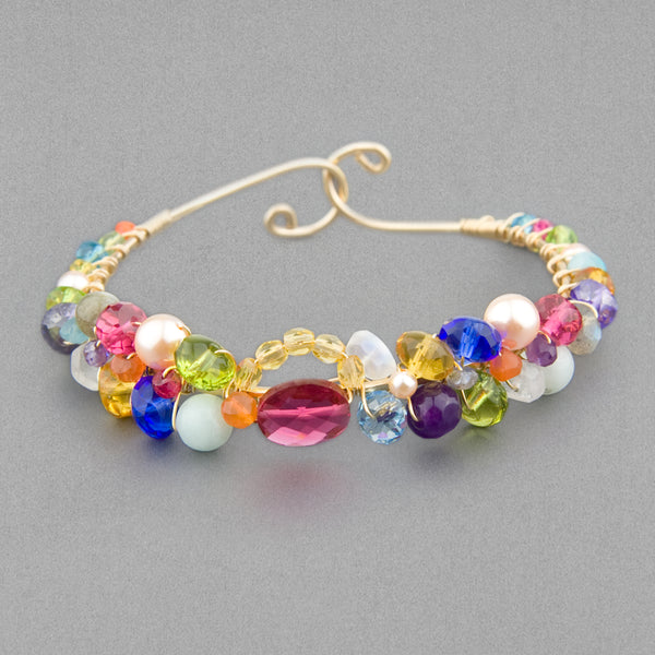 Anna Balkan Bracelet: Signature Sheppard's Hook, Gold with Ruby Quartz
