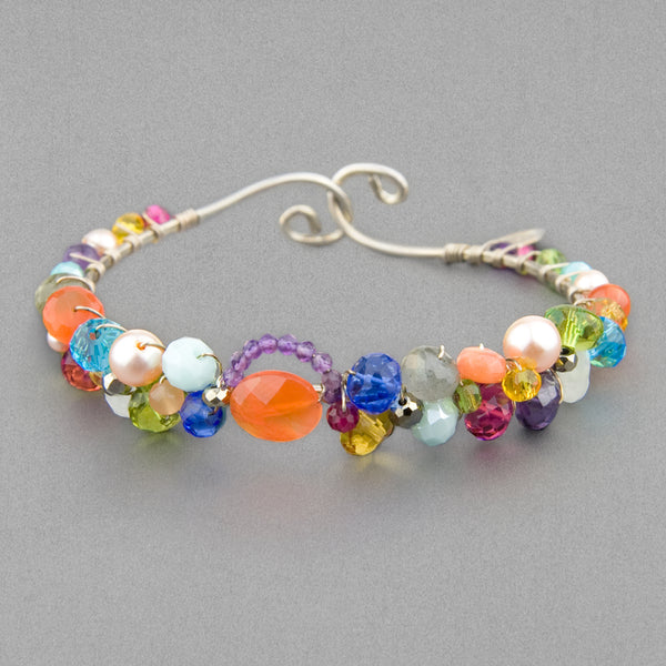 Anna Balkan Bracelet: Signature Sheppard's Hook, Silver with Carnelian