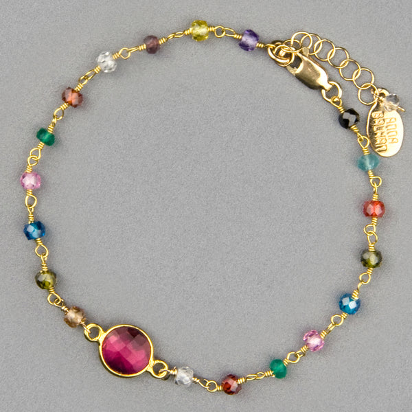 Anna Balkan Bracelet: Cara Multigem, Gold with Ruby Quartz