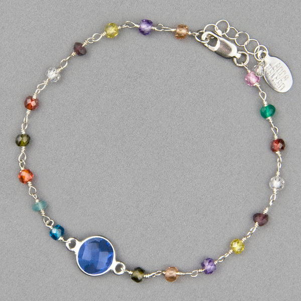 Anna Balkan Bracelet: Cara Multigem, Silver with Blue Quartz