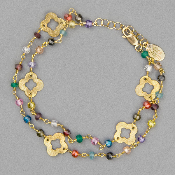 Anna Balkan Bracelet: May Mix Gems and Clovers, Gold with Multigem